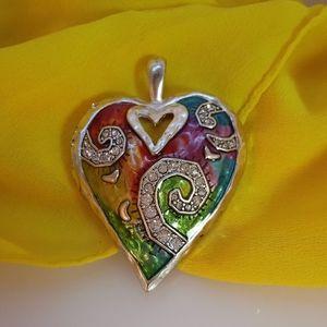 Colorful Rainbow Heart Necklace Pendant